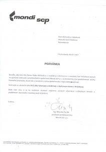 Pozvanka - dochodcovia a MONDI SCP